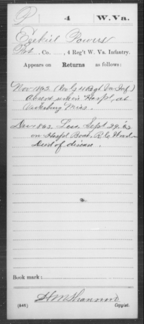 Powers, Ezekiel - Age [Blank], Year: 1863 - Miscellaneous Card Abstracts of Records - West Virginia