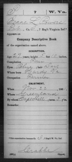 Powers, Isaac L - Age 27, Year: 1861 - Miscellaneous Card Abstracts of Records - West Virginia