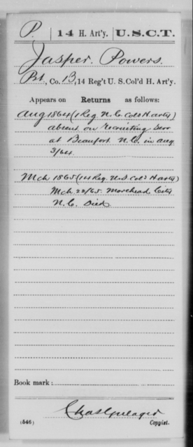 Powers, Jasper - Age [Blank], Year: 1864 - 14th US Colored Heavy Artillery, Wi-Y AND Misc Cards - United States Colored Troops: Artillery Organizations