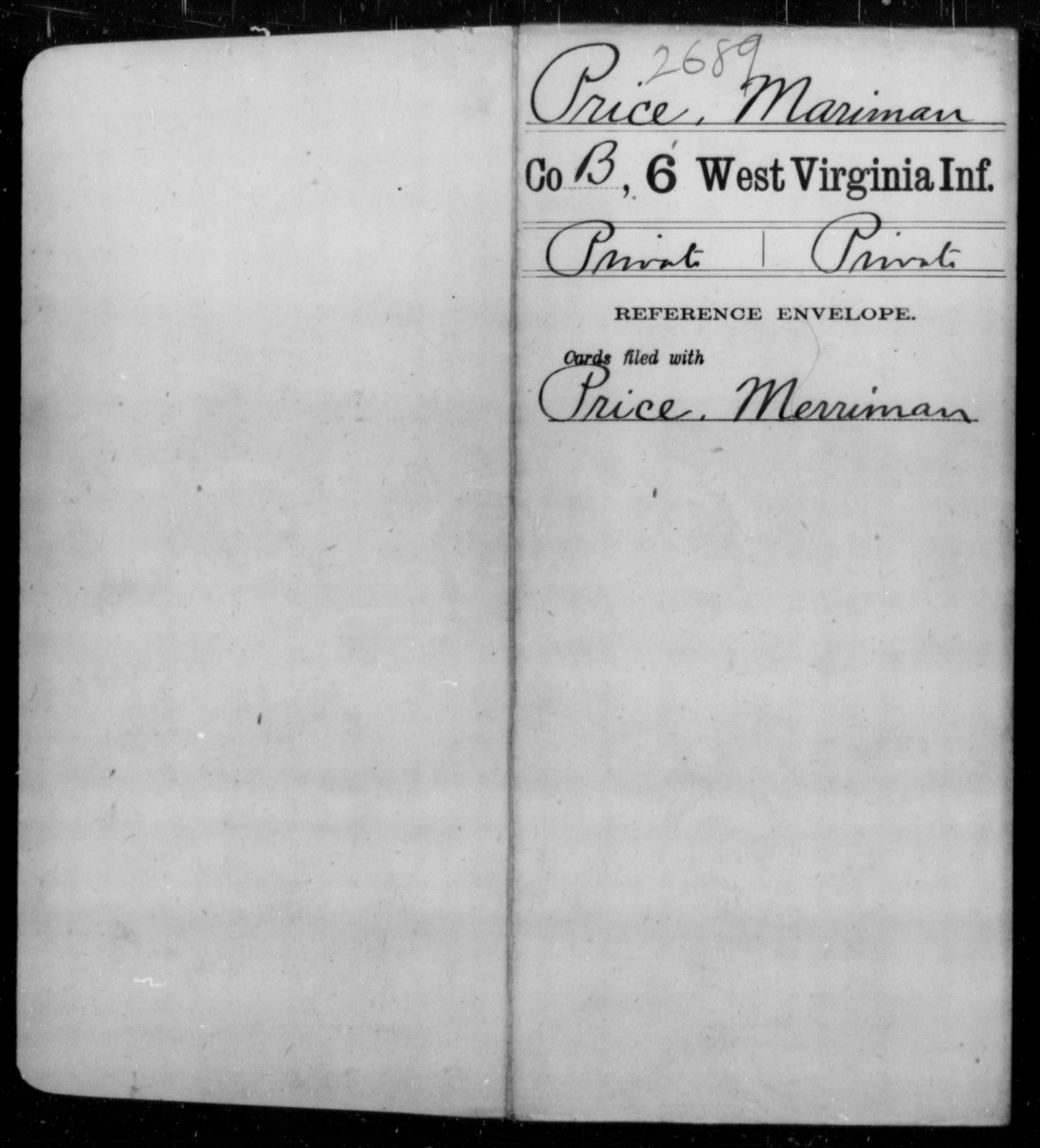 Price, Mariman - Age [Blank], Year: [Blank] - Sixth Infantry - West Virginia