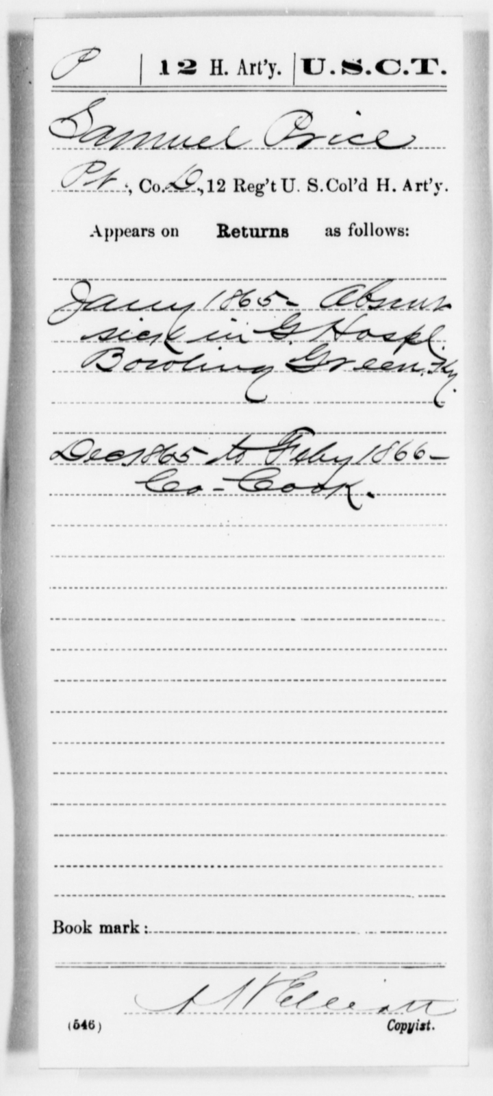 Price, Samuel - Age [Blank], Year: 1865 - 12th US Colored Heavy Artillery, Misc Cards, H-Y - United States Colored Troops: Artillery Organizations