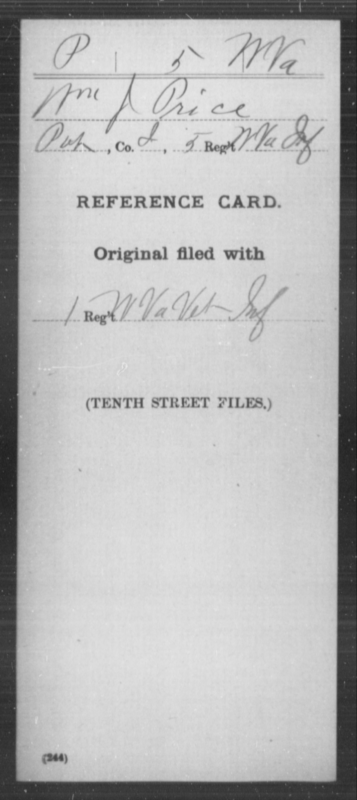 Price, Wm J - Age [Blank], Year: [Blank] - Miscellaneous Card Abstracts of Records - West Virginia