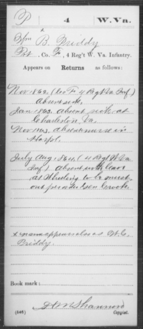 Priddy, Wm B - Age [Blank], Year: 1862 - Miscellaneous Card Abstracts of Records - West Virginia