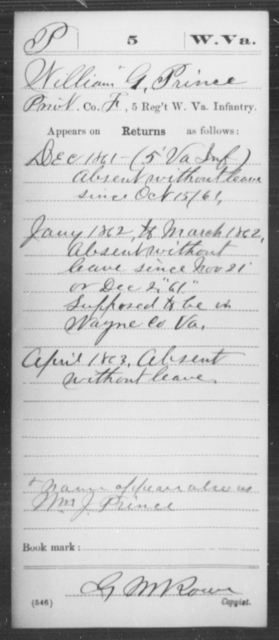 Prince, William G - Age [Blank], Year: 1861 - Miscellaneous Card Abstracts of Records - West Virginia