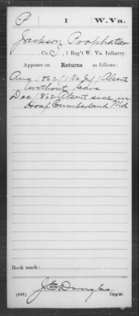 Prophateer, Jackson - Age [Blank], Year: 1862 - Miscellaneous Card Abstracts of Records - West Virginia