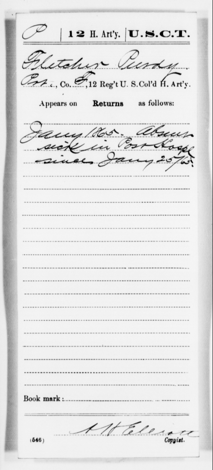 Purdy, Fletcher - Age [Blank], Year: 1865 - 12th US Colored Heavy Artillery, Misc Cards, H-Y - United States Colored Troops: Artillery Organizations