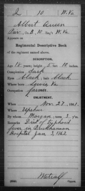 Queen, Albert - Age 18, Year: 1861 - Miscellaneous Card Abstracts of Records - West Virginia