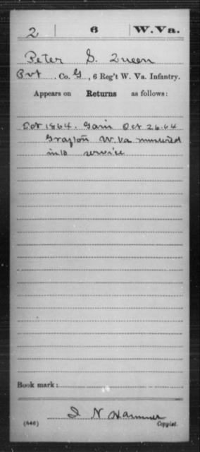 Queen, Peter S - Age [Blank], Year: 1864 - Miscellaneous Card Abstracts of Records - West Virginia