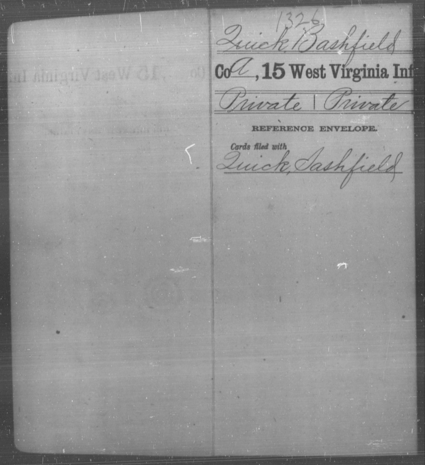 Quick, Bashfield - Age [Blank], Year: [Blank] - Fifteenth Infantry - West Virginia