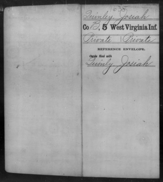 Quinley, Josiah - Age [Blank], Year: [Blank] - Fifth Infantry - West Virginia