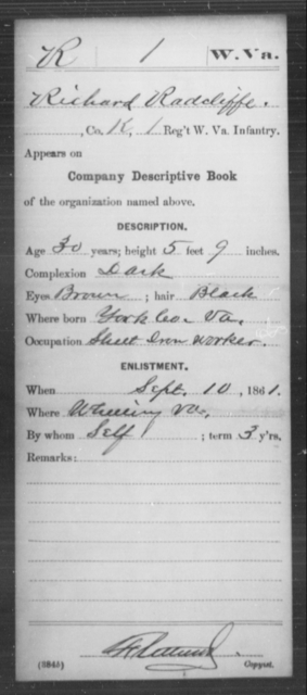 Radcliffe, Richard - Age 30, Year: 1861 - Miscellaneous Card Abstracts of Records - West Virginia