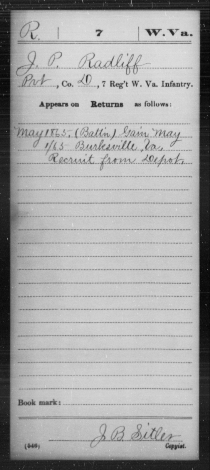 Radliff, J P - Age [Blank], Year: 1865 - Miscellaneous Card Abstracts of Records - West Virginia