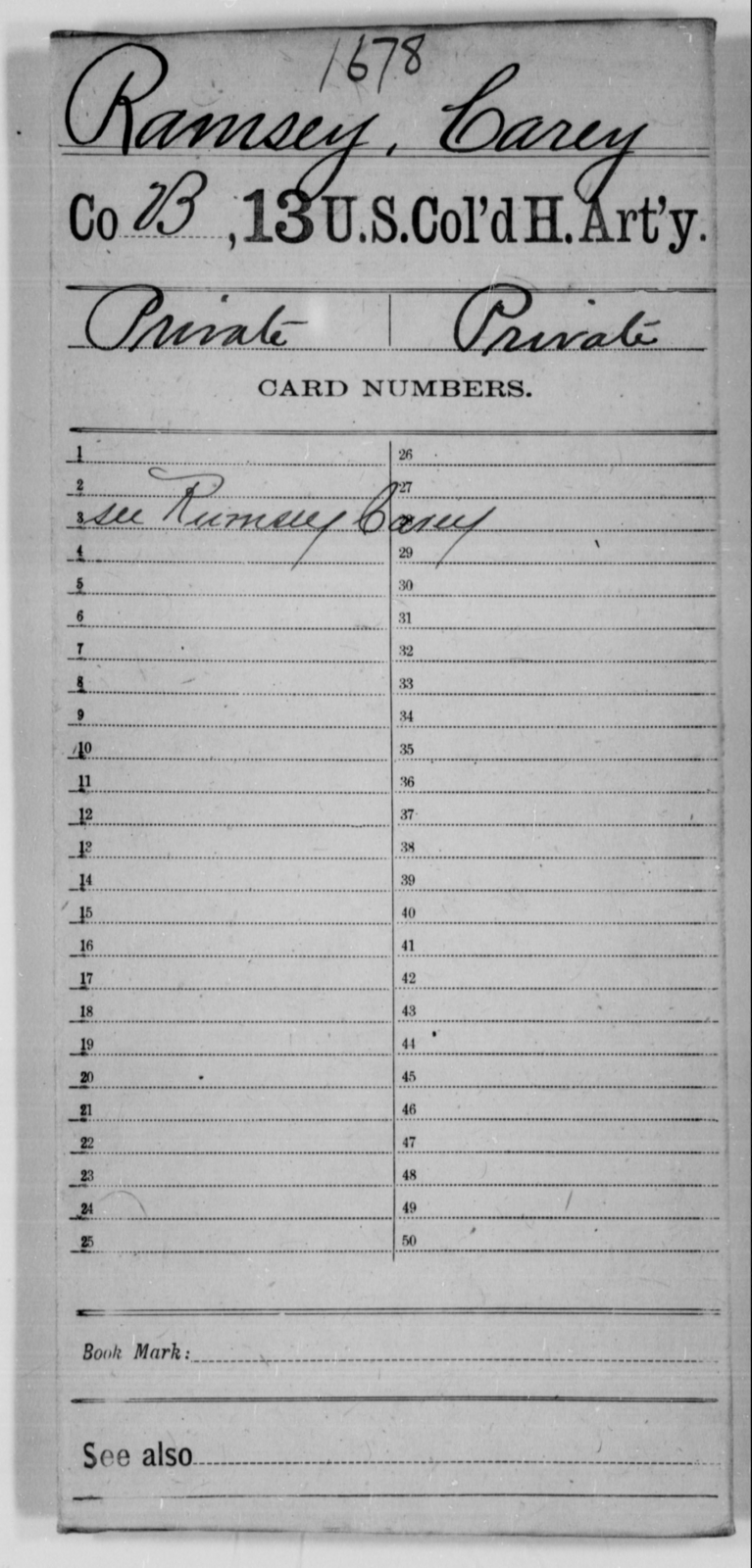 Ramsey, Carey - Age [Blank], Year: [Blank] - 13th US Colored Heavy Artillery - United States Colored Troops: Artillery Organizations