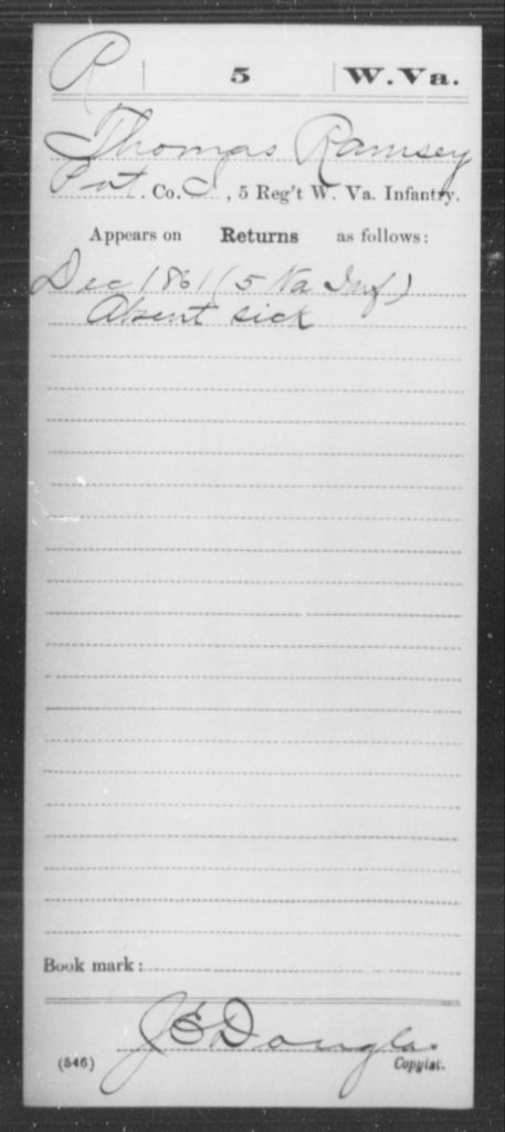 Ramsey, Thomas - Age [Blank], Year: 1861 - Miscellaneous Card Abstracts of Records - West Virginia
