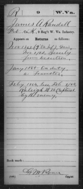 Randall, James A - Age [Blank], Year: 1862 - Miscellaneous Card Abstracts of Records - West Virginia