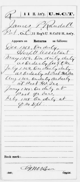 Randall, James - Age [Blank], Year: 1863 - 11th US Colored Heavy Artillery, Misc Cards, E-Y - United States Colored Troops: Artillery Organizations