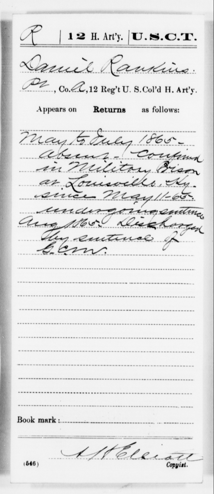 Rankins, Daniel - Age [Blank], Year: 1865 - 12th US Colored Heavy Artillery, Misc Cards, H-Y - United States Colored Troops: Artillery Organizations