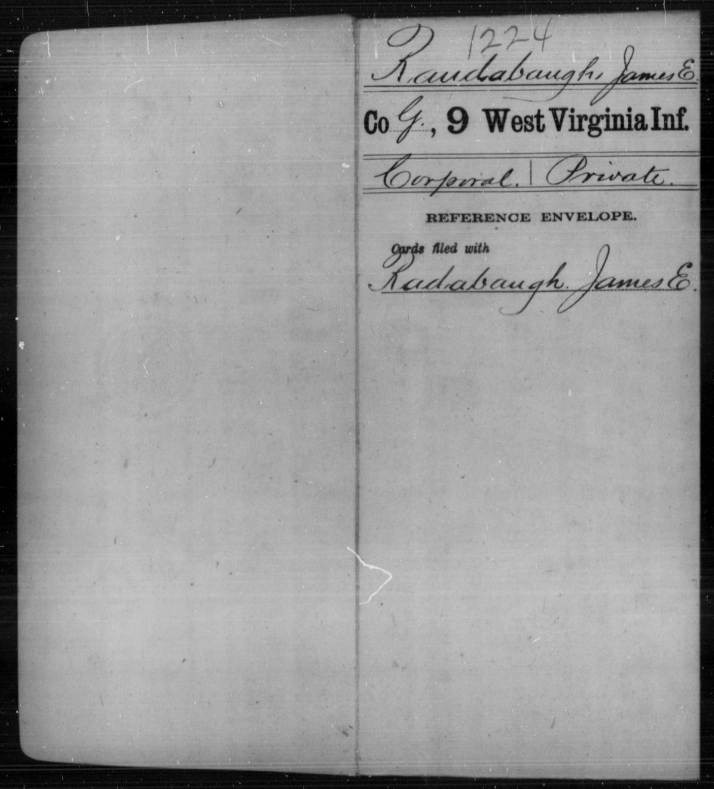 Raudabaugh, James E - Age [Blank], Year: [Blank] - Ninth Infantry - West Virginia
