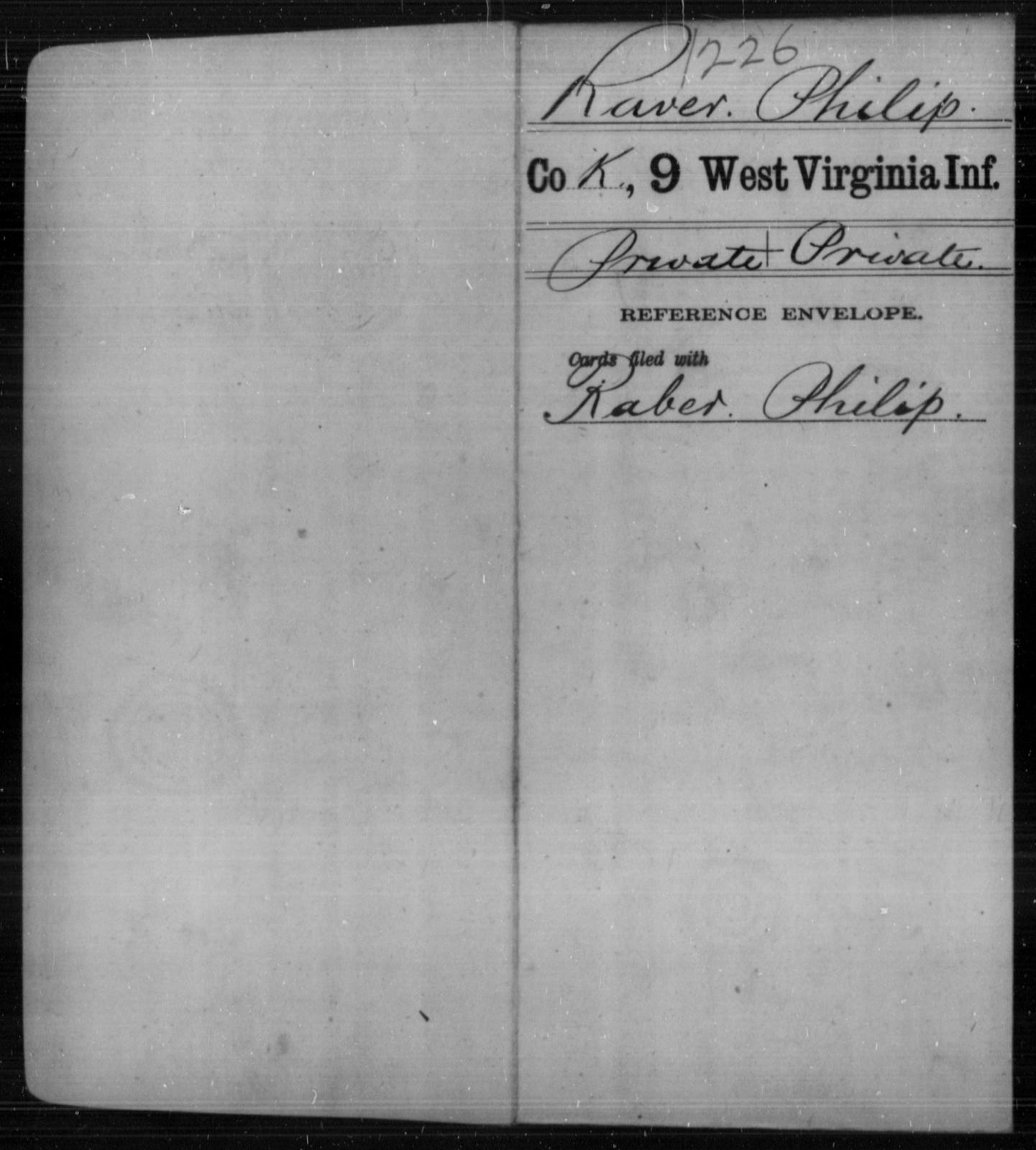 Raver, Philip - Age [Blank], Year: [Blank] - Ninth Infantry - West Virginia