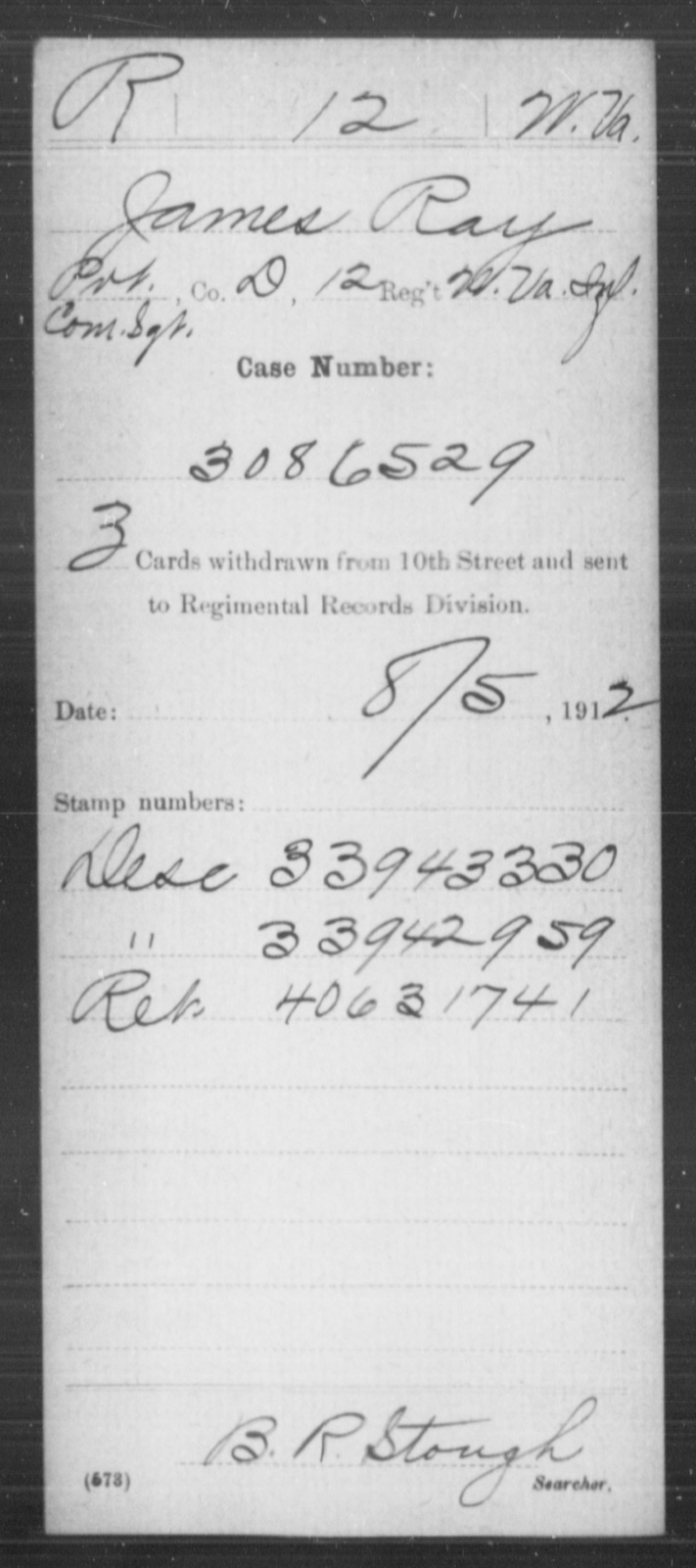 Ray, James - Age [Blank], Year: [Blank] - Miscellaneous Card Abstracts of Records - West Virginia