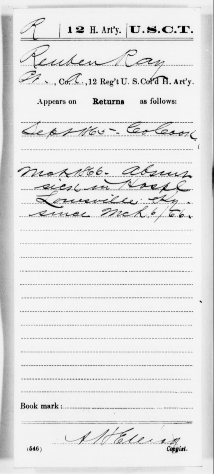 Ray, Reuben - Age [Blank], Year: 1865 - 12th US Colored Heavy Artillery, Misc Cards, H-Y - United States Colored Troops: Artillery Organizations