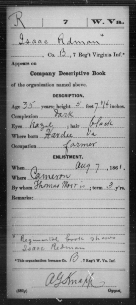 Rdman, Isaac - Age 35, Year: 1861 - Miscellaneous Card Abstracts of Records - West Virginia