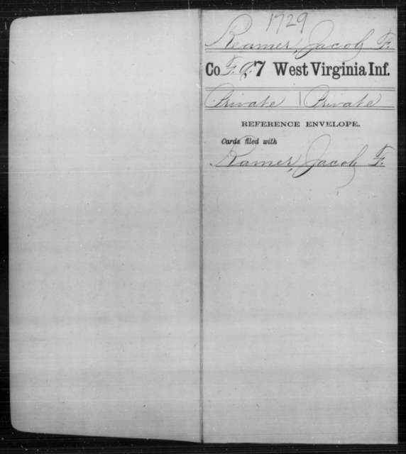 Reamer, Jacob F - Age [Blank], Year: [Blank] - Seventh Infantry - West Virginia
