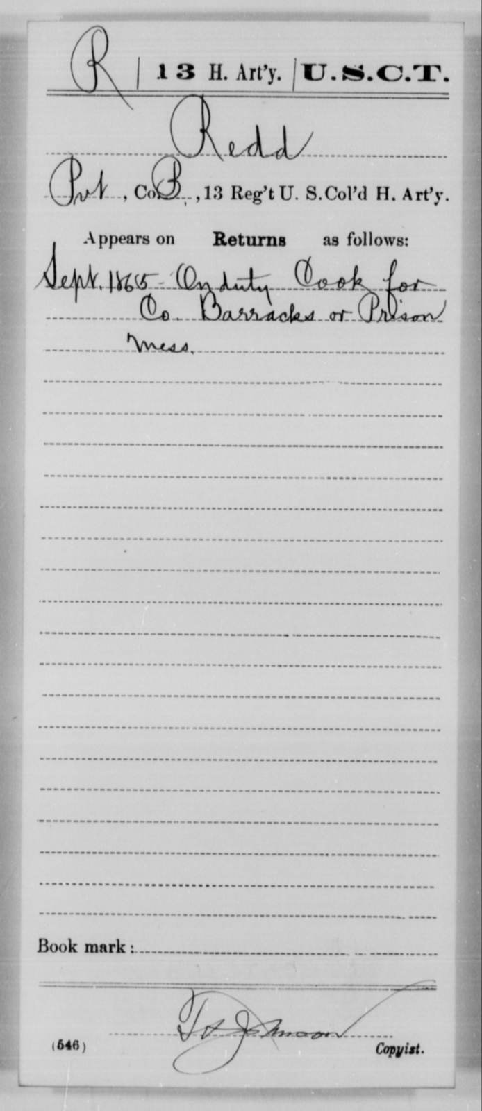 Redd, [Blank] - Age [Blank], Year: 1865 - 13th US Colored Heavy Artillery, Misc Cards - United States Colored Troops: Artillery Organizations