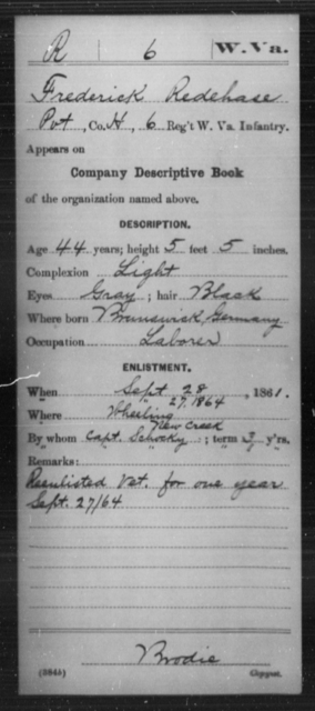 Redehase, Frederick - Age 44, Year: 1861 - Miscellaneous Card Abstracts of Records - West Virginia
