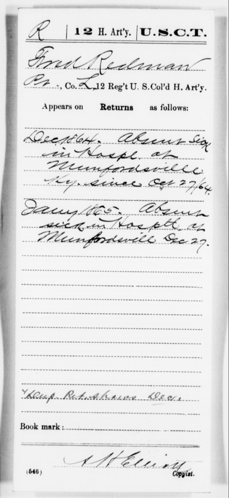 Redman, Fred - Age [Blank], Year: 1864 - 12th US Colored Heavy Artillery, Misc Cards, H-Y - United States Colored Troops: Artillery Organizations