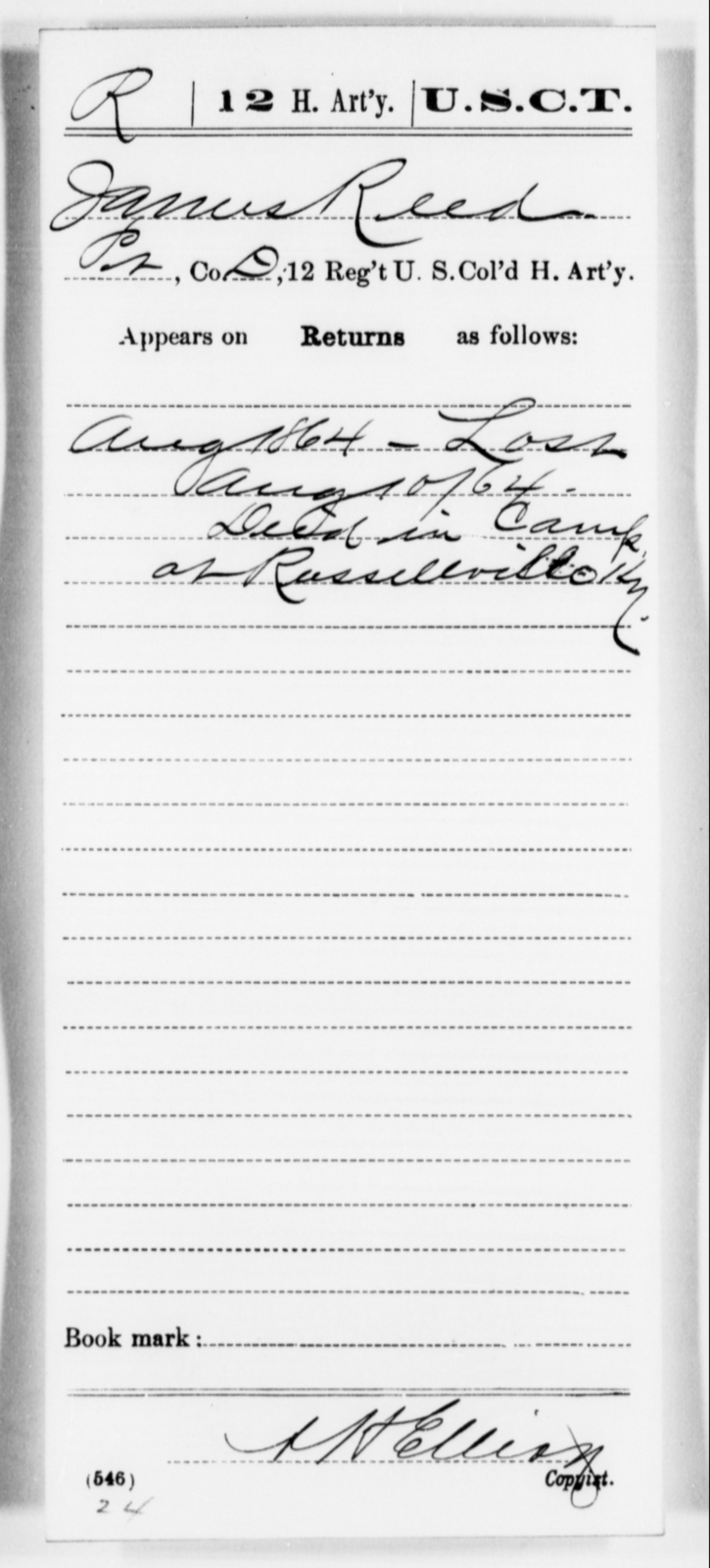Reed, James - Age [Blank], Year: 1864 - 12th US Colored Heavy Artillery, Misc Cards, H-Y - United States Colored Troops: Artillery Organizations