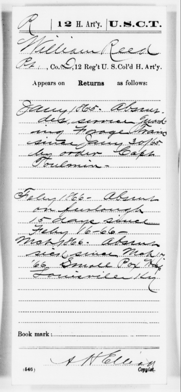 Reed, William - Age [Blank], Year: 1865 - 12th US Colored Heavy Artillery, Misc Cards, H-Y - United States Colored Troops: Artillery Organizations