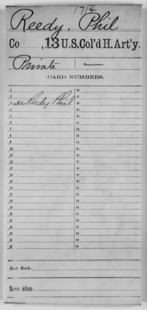 Reedy, Phil - Age [Blank], Year: [Blank] - 13th US Colored Heavy Artillery - United States Colored Troops: Artillery Organizations