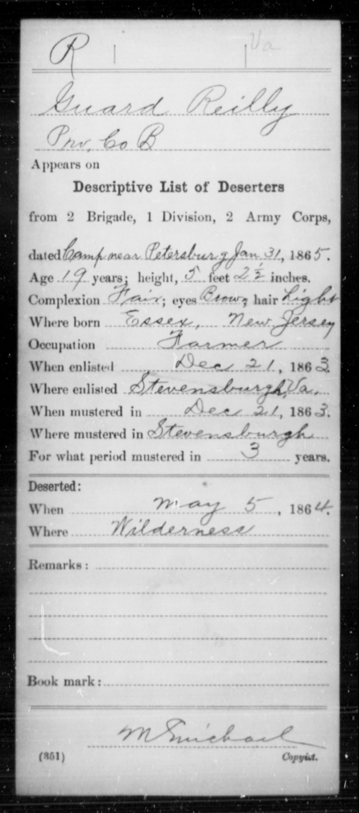 Reilly, Guard - Age 19, Year: 1865 - Miscellaneous Card Abstracts of Records - West Virginia