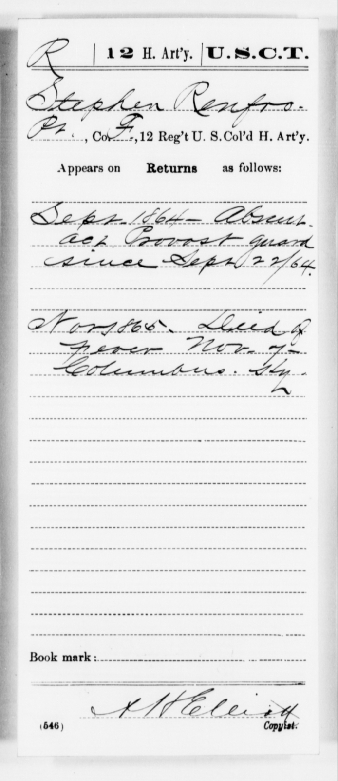 Renfro, Stephen - Age [Blank], Year: 1864 - 12th US Colored Heavy Artillery, Misc Cards, H-Y - United States Colored Troops: Artillery Organizations