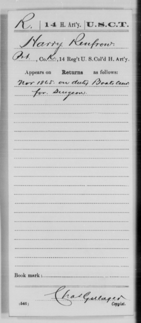 Renfrow, Harry - Age [Blank], Year: 1865 - 14th US Colored Heavy Artillery, Wi-Y AND Misc Cards - United States Colored Troops: Artillery Organizations