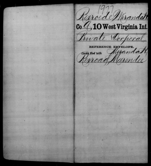 Rexroede, Miranda H - Age [Blank], Year: [Blank] - Tenth Infantry - West Virginia