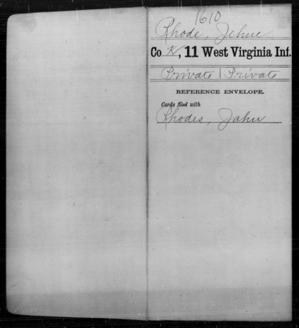 Rhode, Jehue - Age [Blank], Year: [Blank] - Eleventh Infantry - West Virginia