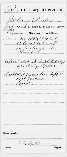 Rhodes, John - Age [Blank], Year: 1863 - 11th US Colored Heavy Artillery, Misc Cards, E-Y - United States Colored Troops: Artillery Organizations