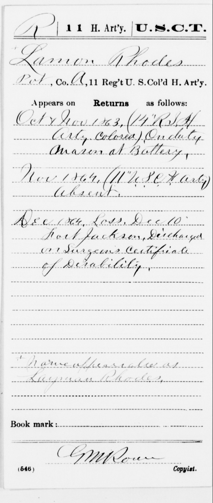 Rhodes, Lamon - Age [Blank], Year: 1863 - 11th US Colored Heavy Artillery, Misc Cards, E-Y - United States Colored Troops: Artillery Organizations
