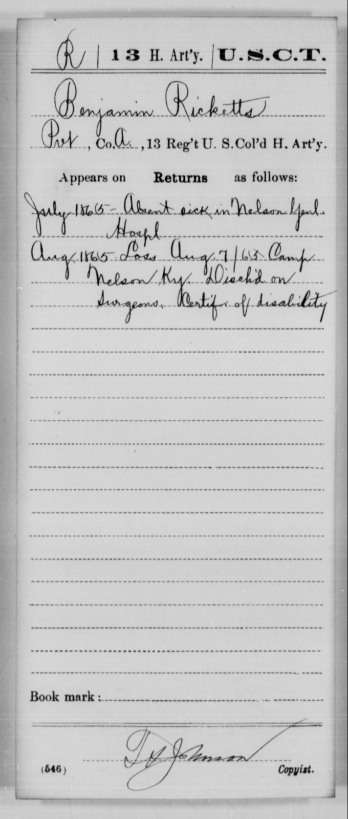 Ricketts, Benjamin - Age [Blank], Year: 1865 - 13th US Colored Heavy Artillery, Misc Cards - United States Colored Troops: Artillery Organizations