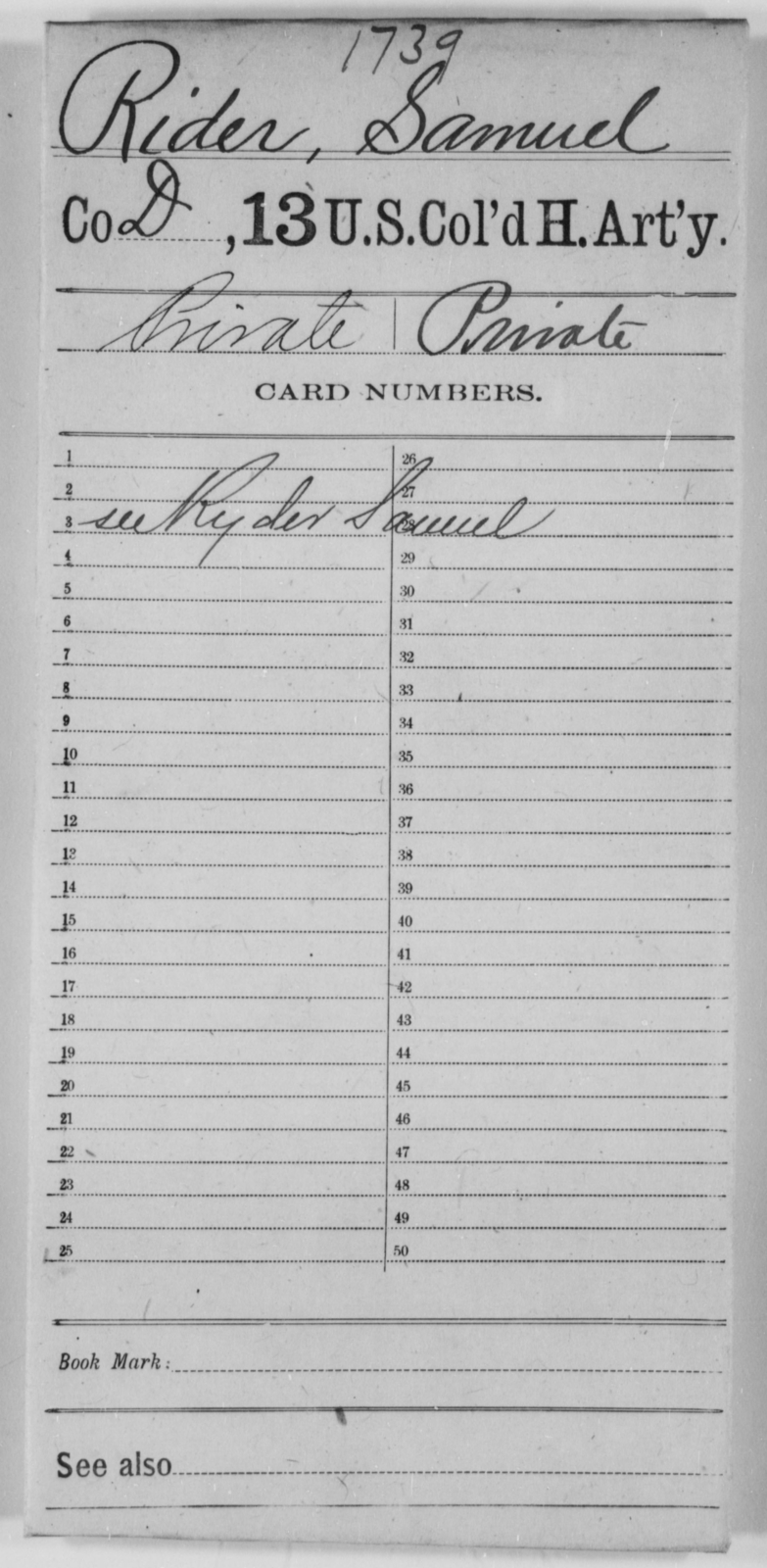 Rider, Samuel - Age [Blank], Year: [Blank] - 13th US Colored Heavy Artillery - United States Colored Troops: Artillery Organizations