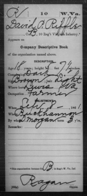 Riffle, David P - Age 18, Year: 1861 - Miscellaneous Card Abstracts of Records - West Virginia