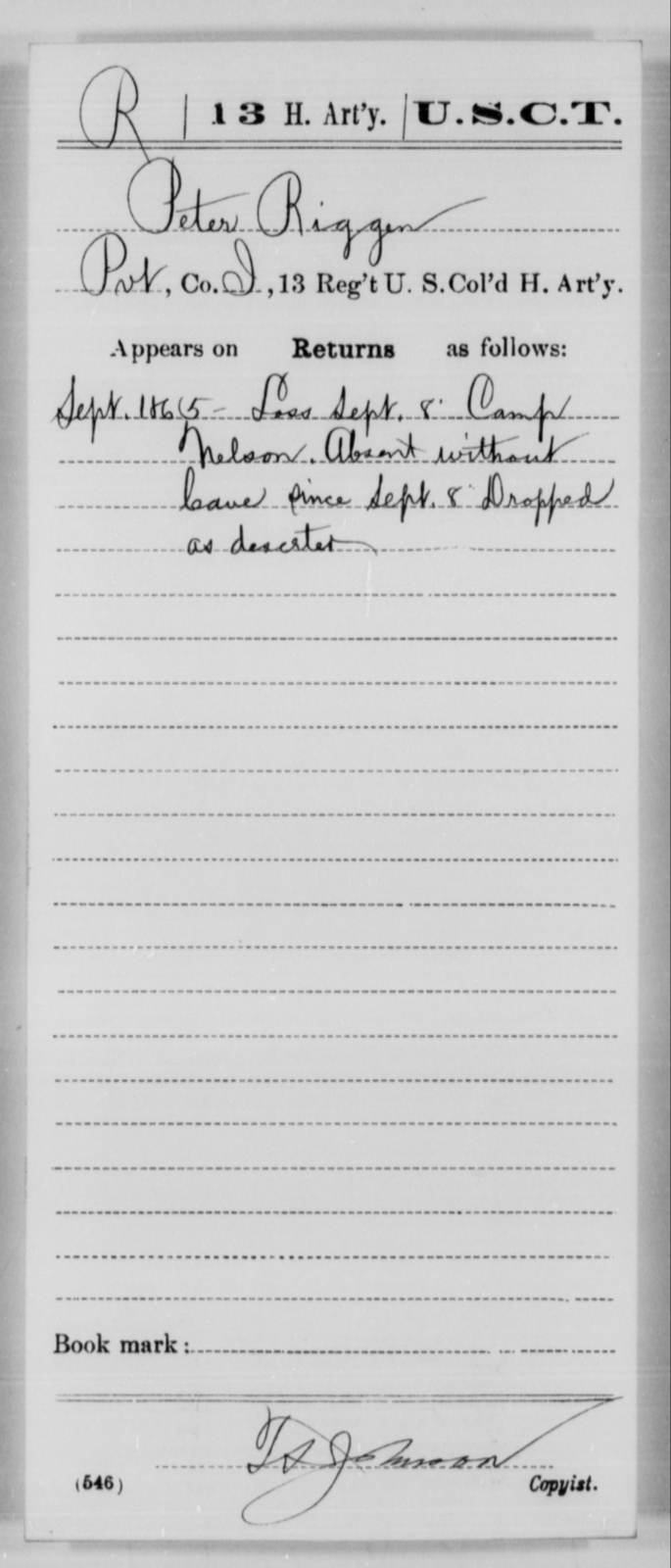 Riggen, Peter - Age [Blank], Year: 1865 - 13th US Colored Heavy Artillery, Misc Cards - United States Colored Troops: Artillery Organizations