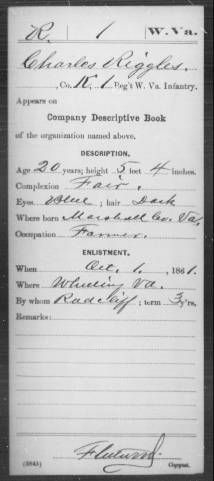 Riggles, Charles - Age 20, Year: 1861 - Miscellaneous Card Abstracts of Records - West Virginia