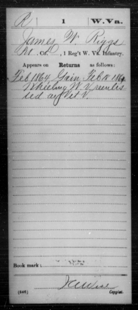 Riggs, James W - Age [Blank], Year: 1864 - Miscellaneous Card Abstracts of Records - West Virginia