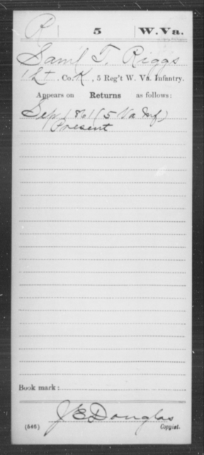Riggs, Saml T - Age [Blank], Year: 1861 - Miscellaneous Card Abstracts of Records - West Virginia
