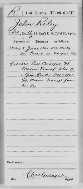 Riley, John - Age [Blank], Year: 1865 - 14th US Colored Heavy Artillery, Wi-Y AND Misc Cards - United States Colored Troops: Artillery Organizations