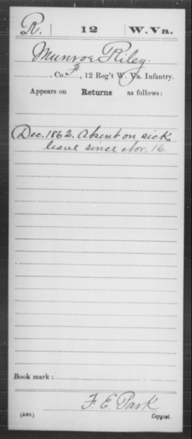 Riley, Munroe - Age [Blank], Year: 1862 - Miscellaneous Card Abstracts of Records - West Virginia