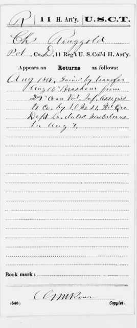 Ringgold, Chs - Age [Blank], Year: 1865 - 11th US Colored Heavy Artillery, Misc Cards, E-Y - United States Colored Troops: Artillery Organizations